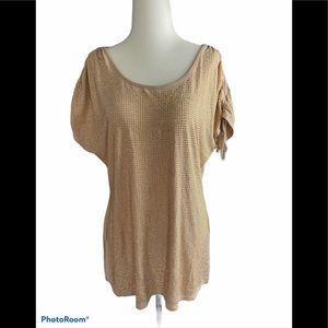 Boston Proper cinched sleeve rose gold sparkle top